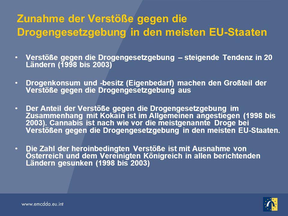 Zunahme der Verstöße gegen die Drogengesetzgebung in den meisten EU-Staaten