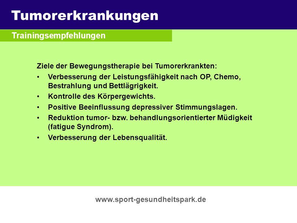 Tumorerkrankungen Überschrift Trainingsempfehlungen Untertitel