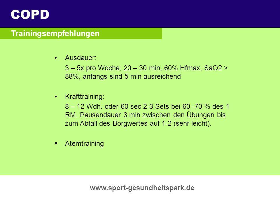 COPD Überschrift Trainingsempfehlungen Untertitel Ausdauer: