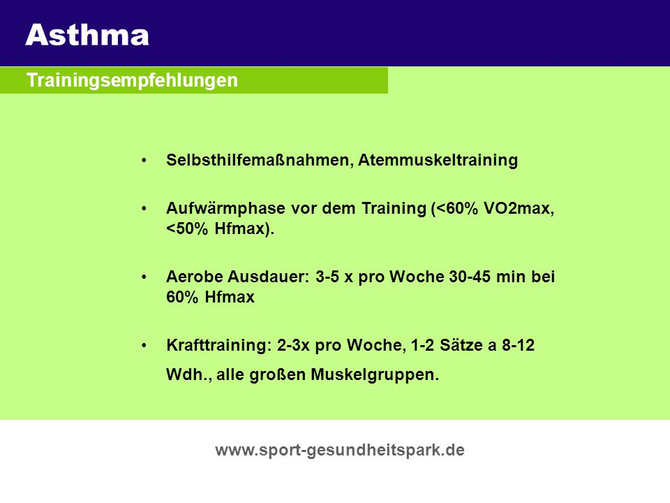 Asthma Überschrift Trainingsempfehlungen Untertitel