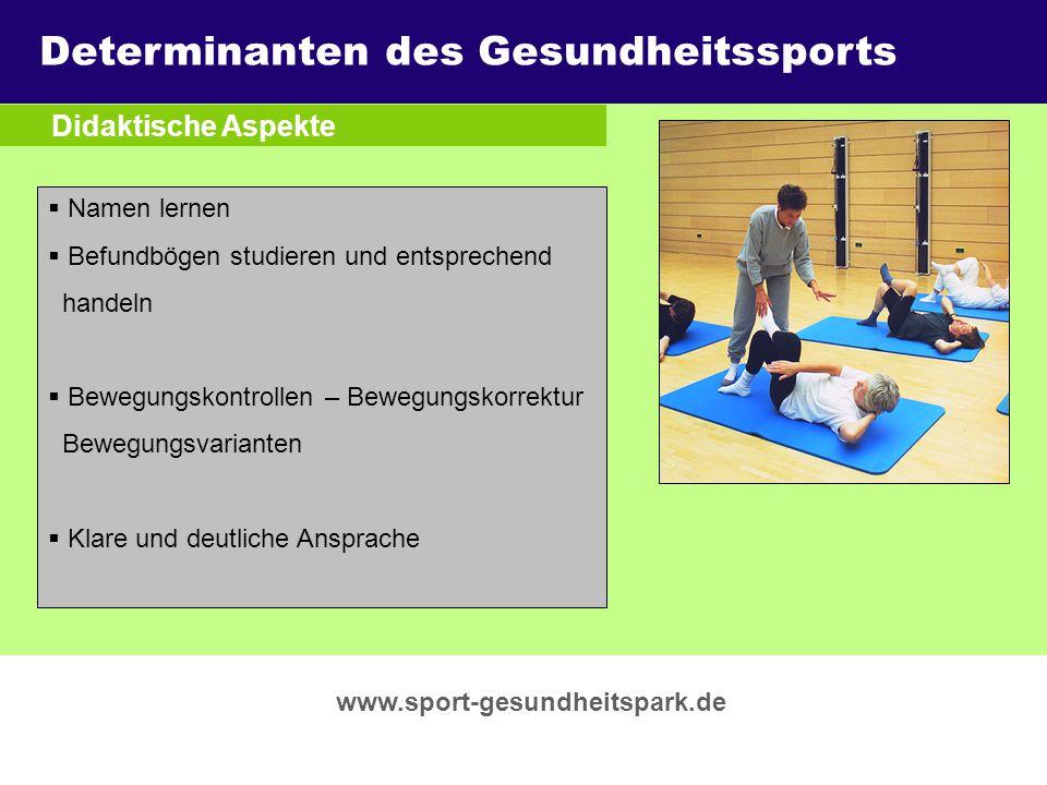 Überschrift Determinanten des Gesundheitssports Didaktische Aspekte
