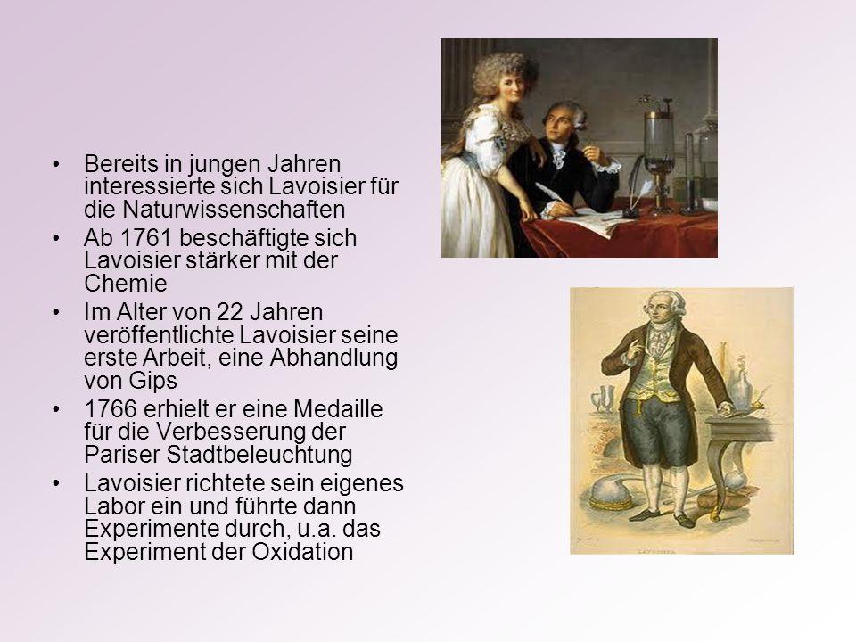 Bereits in jungen Jahren interessierte sich Lavoisier für die Naturwissenschaften