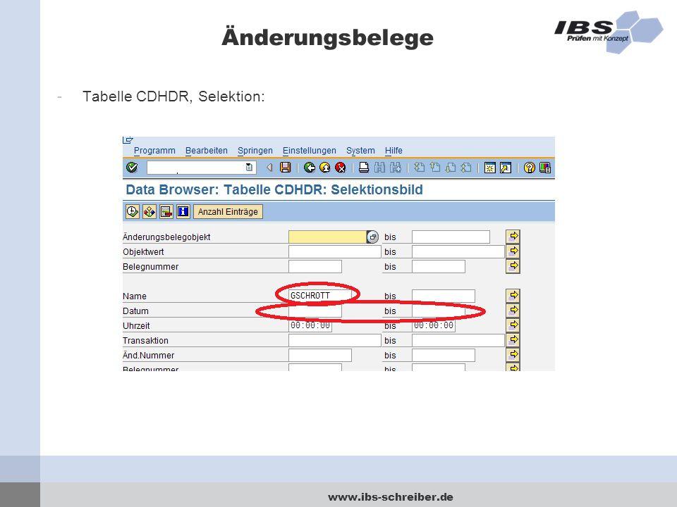 Änderungsbelege Tabelle CDHDR, Selektion: