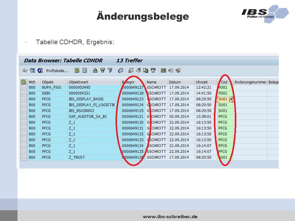 Änderungsbelege Tabelle CDHDR, Ergebnis:
