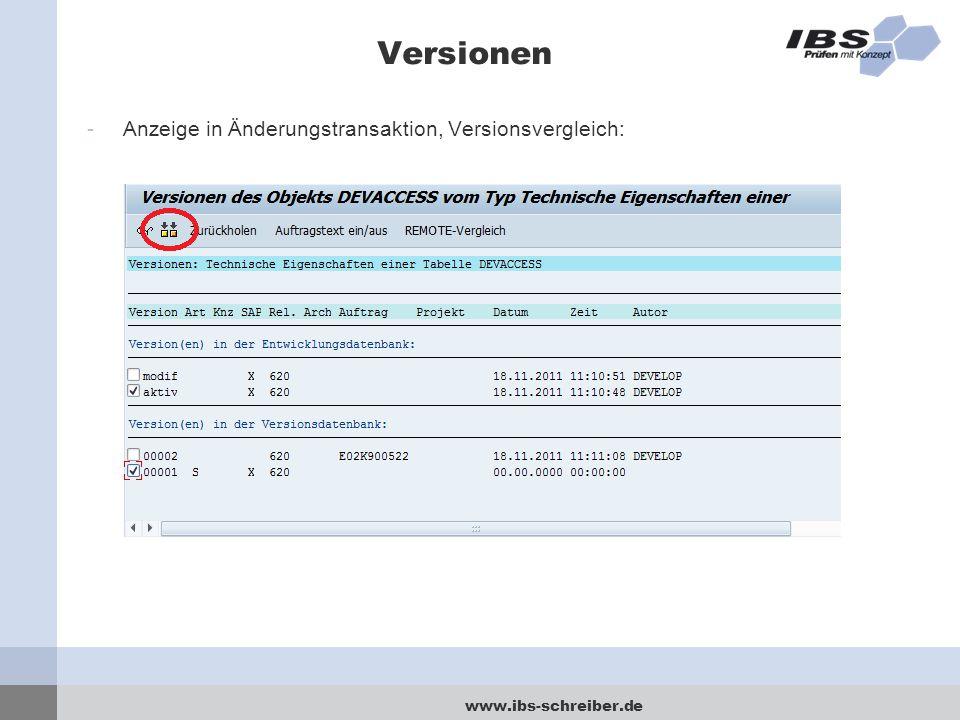 Versionen Anzeige in Änderungstransaktion, Versionsvergleich: