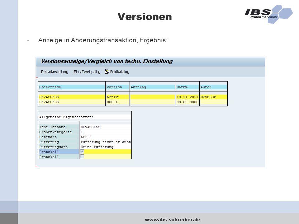 Versionen Anzeige in Änderungstransaktion, Ergebnis: