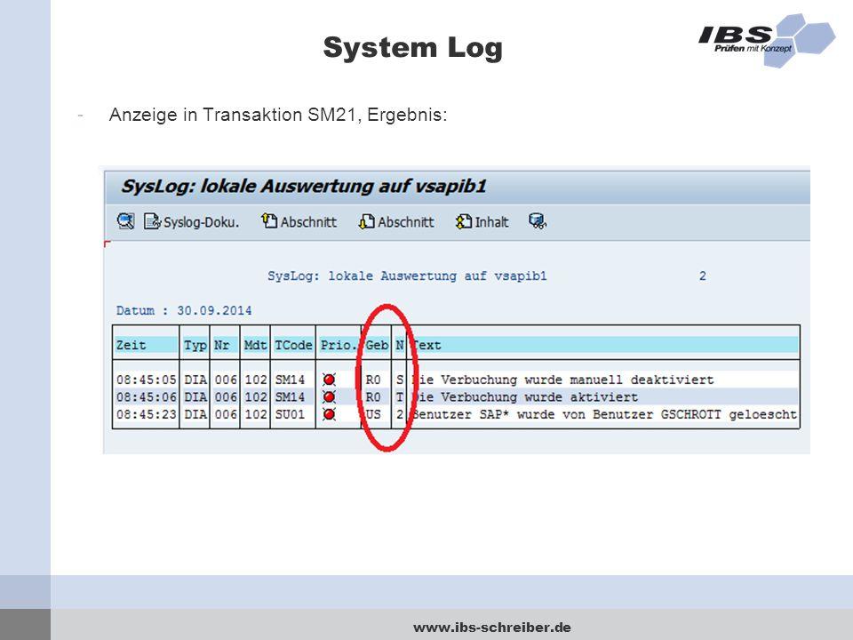 System Log Anzeige in Transaktion SM21, Ergebnis: