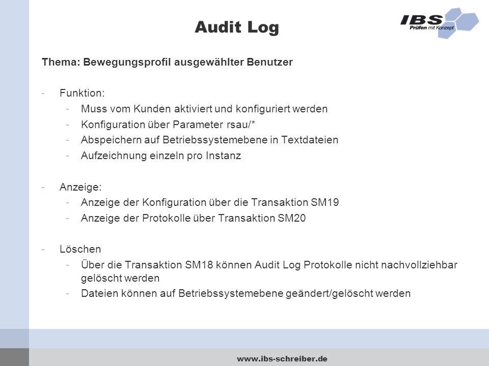 Audit Log Thema: Bewegungsprofil ausgewählter Benutzer Funktion: