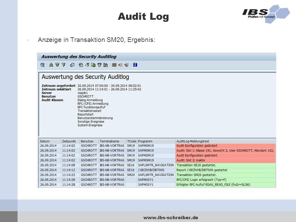 Audit Log Anzeige in Transaktion SM20, Ergebnis: