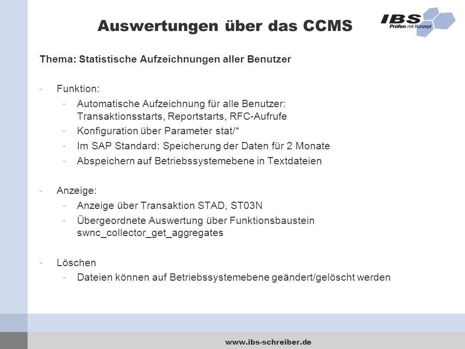 Auswertungen über das CCMS