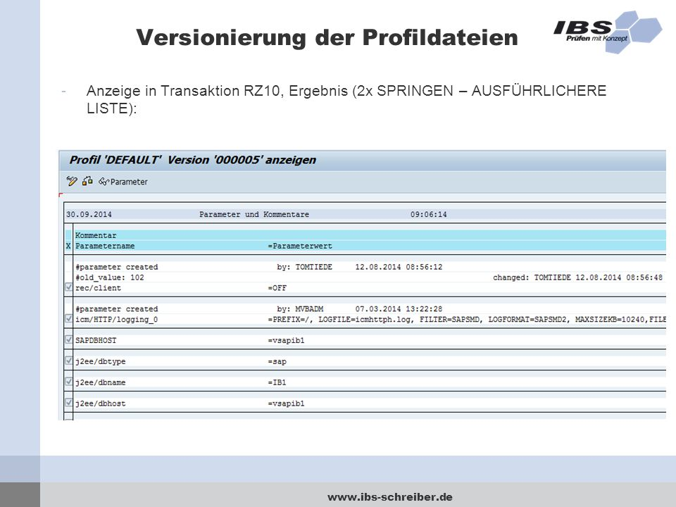 Versionierung der Profildateien