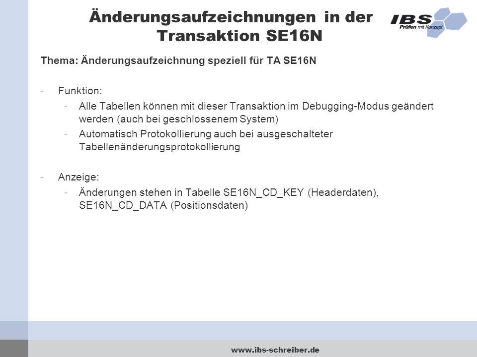 Änderungsaufzeichnungen in der Transaktion SE16N