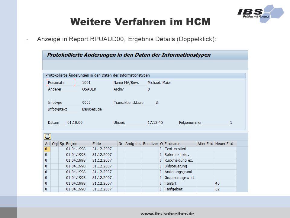 Weitere Verfahren im HCM