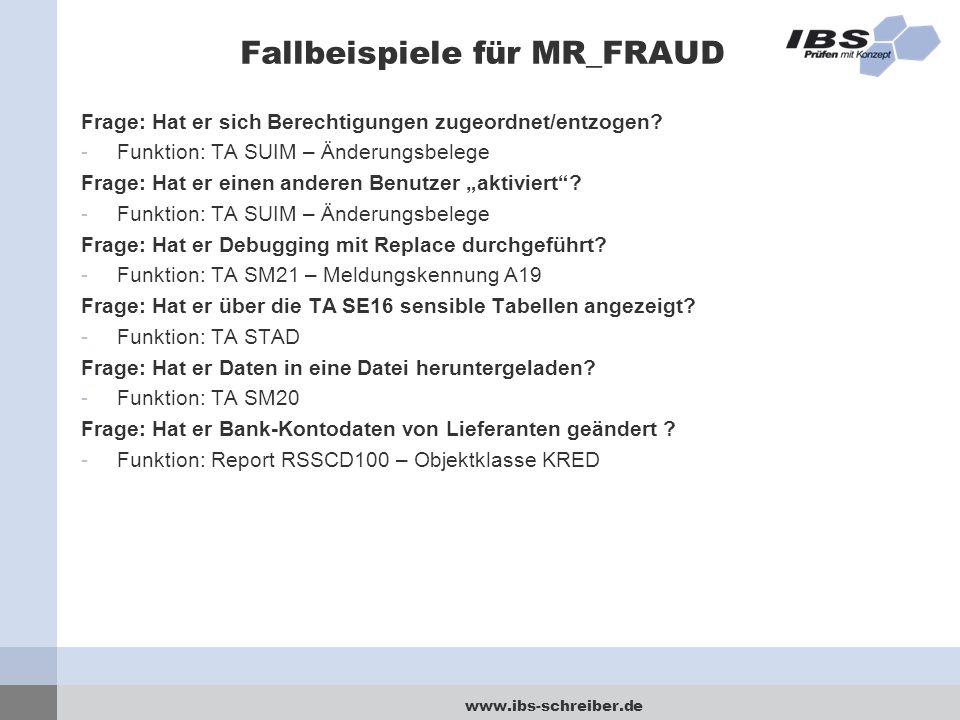 Fallbeispiele für MR_FRAUD