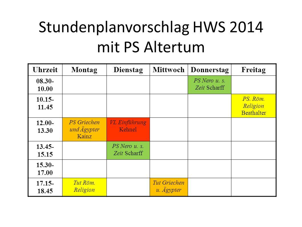 Stundenplanvorschlag HWS 2014 mit PS Altertum