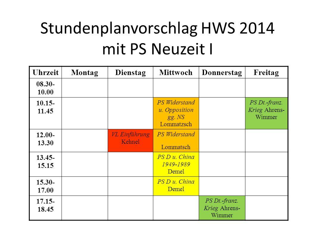 Stundenplanvorschlag HWS 2014 mit PS Neuzeit I