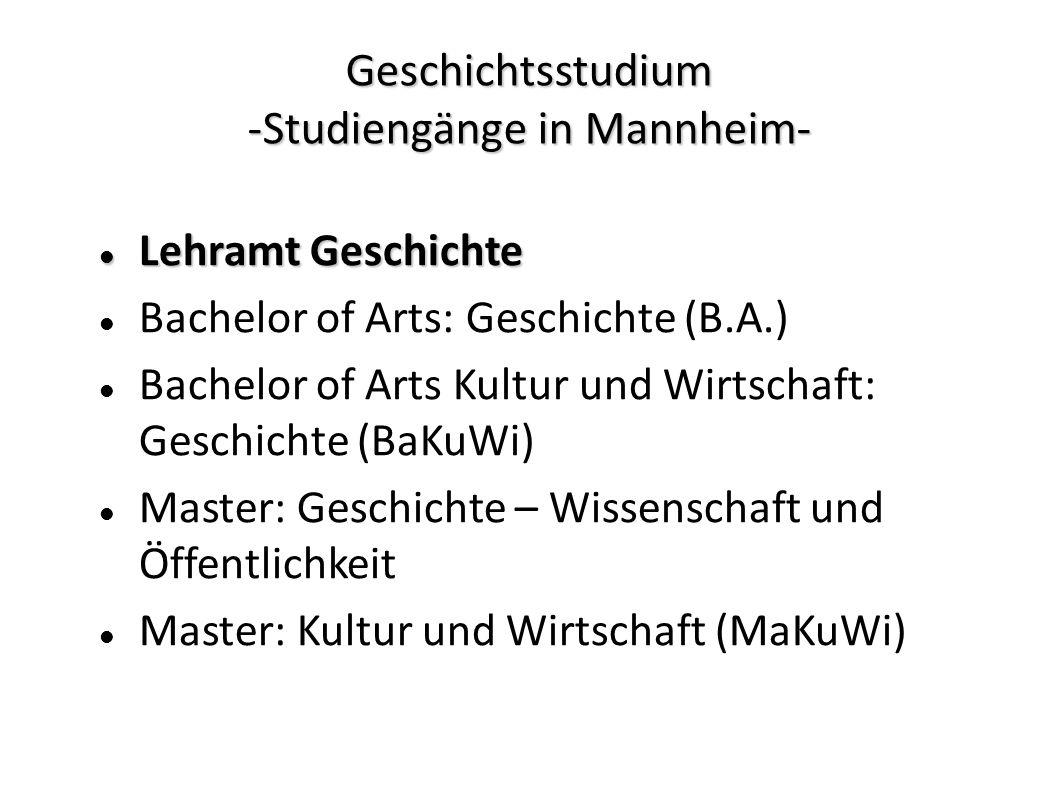 Geschichtsstudium -Studiengänge in Mannheim-