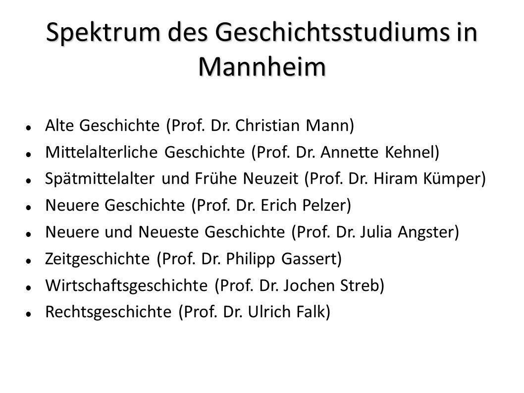 Spektrum des Geschichtsstudiums in Mannheim