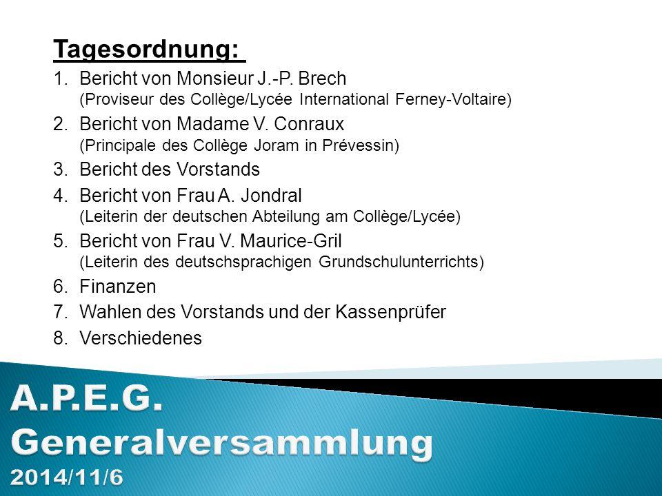 A.P.E.G. Generalversammlung 2014/11/6