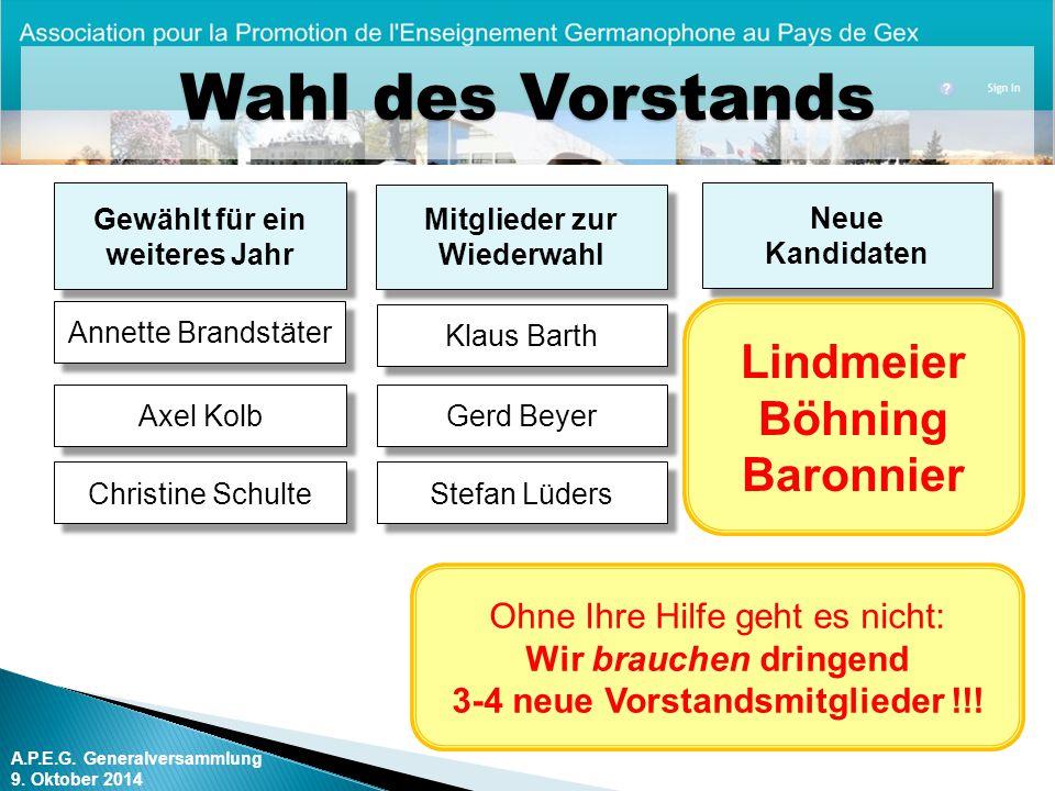 Wahl des Vorstands Lindmeier Böhning Baronnier