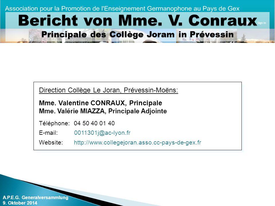 Bericht von Mme. V. Conraux Principale des Collège Joram in Prévessin