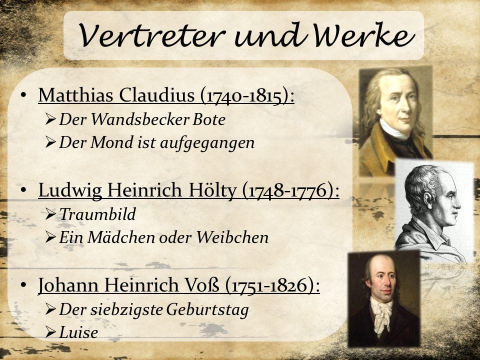 Vertreter und Werke Matthias Claudius (1740-1815):