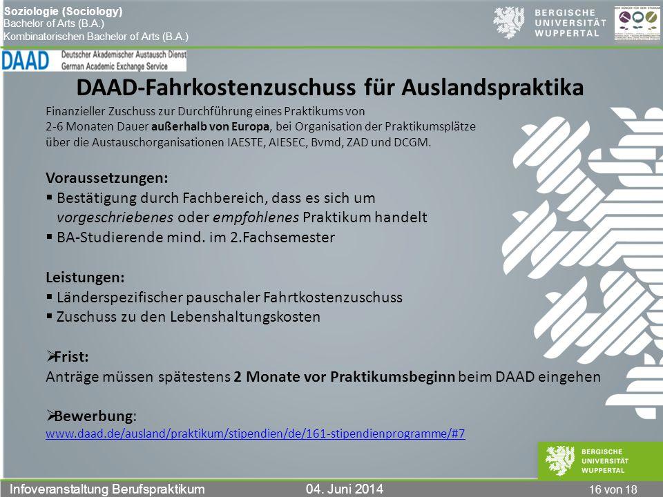 DAAD-Fahrkostenzuschuss für Auslandspraktika