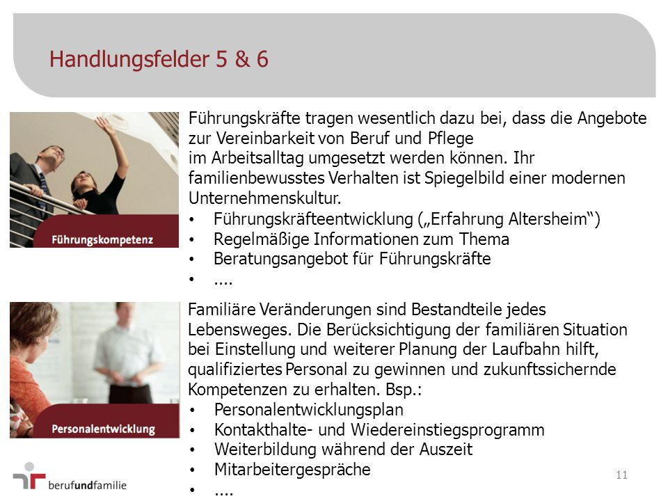 Handlungsfelder 5 & 6 Führungskräfte tragen wesentlich dazu bei, dass die Angebote zur Vereinbarkeit von Beruf und Pflege.
