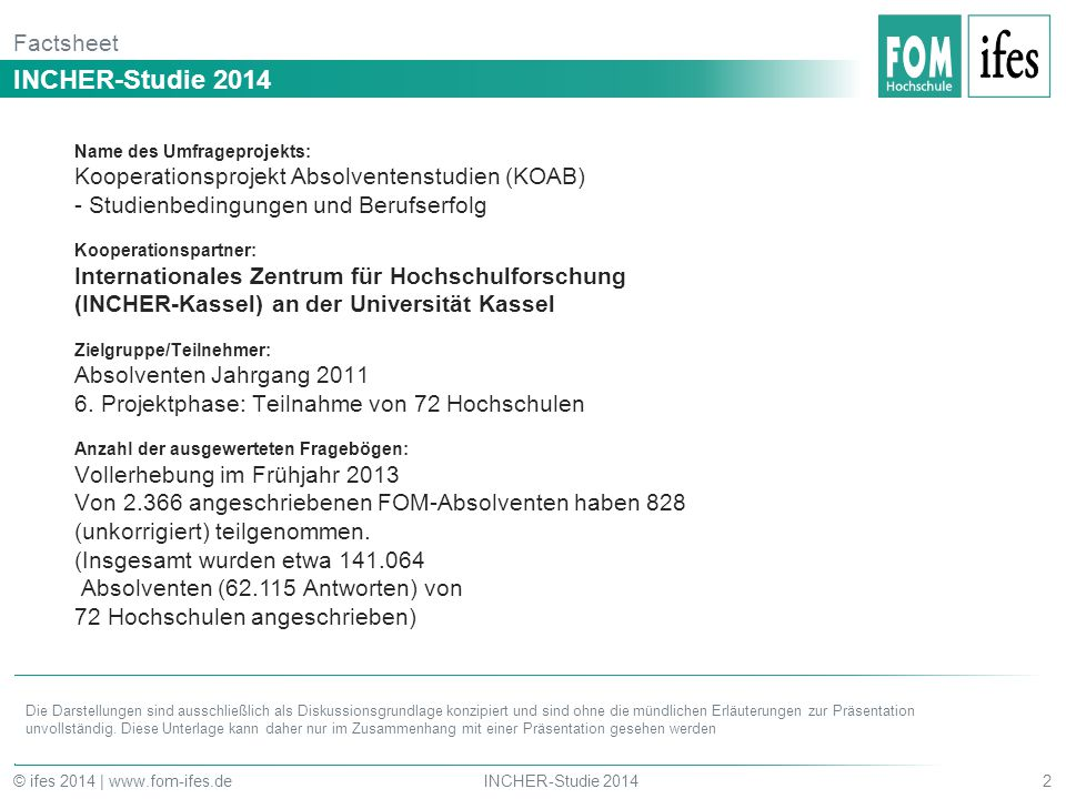 INCHER-Studie 2014 Factsheet