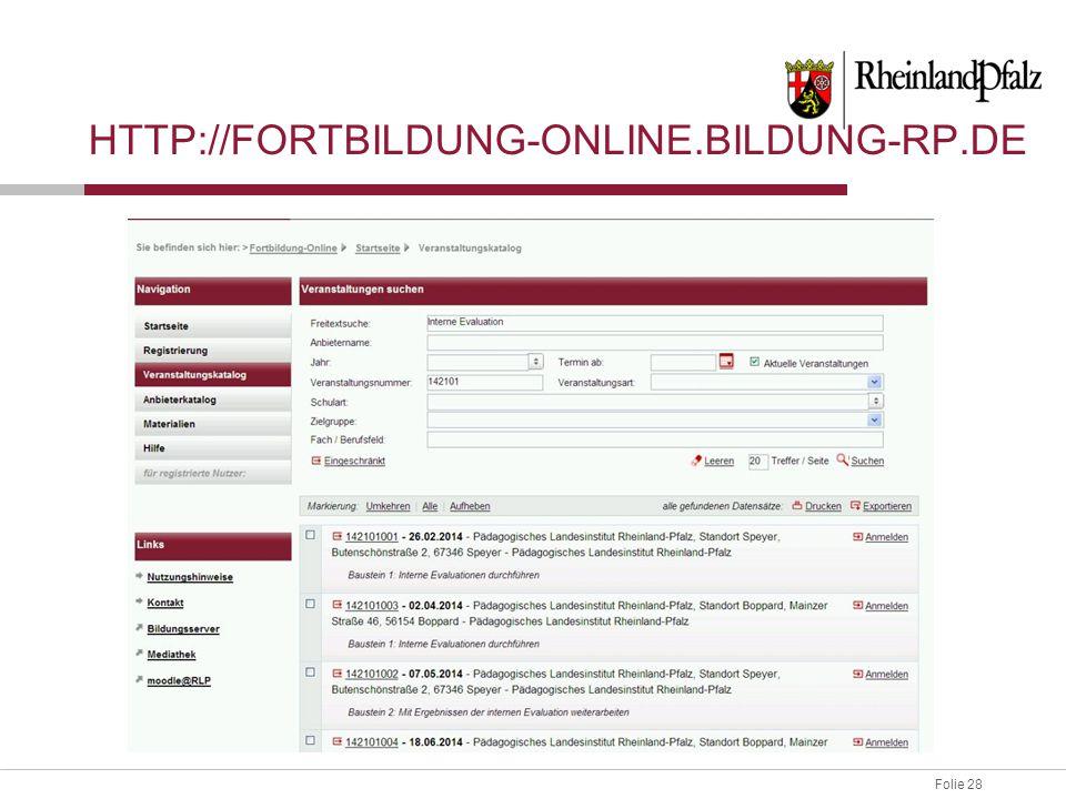 http://fortbildung-online.bildung-rp.de Freitextsuche Interne Evaluation.