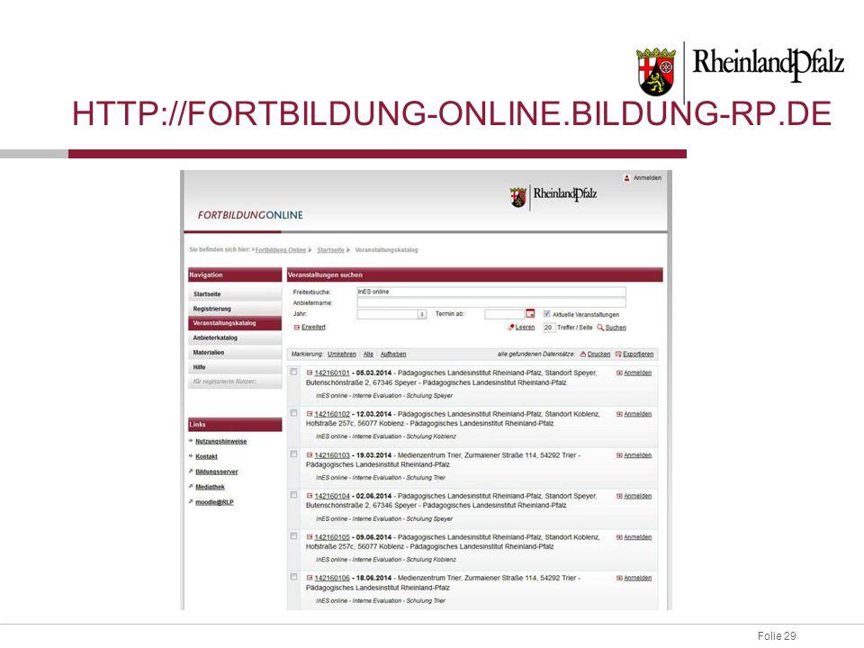http://fortbildung-online.bildung-rp.de Beschreibung der InES online Software-Schulung: