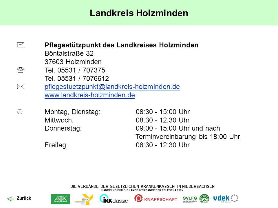 Landkreis Holzminden  Pflegestützpunkt des Landkreises Holzminden