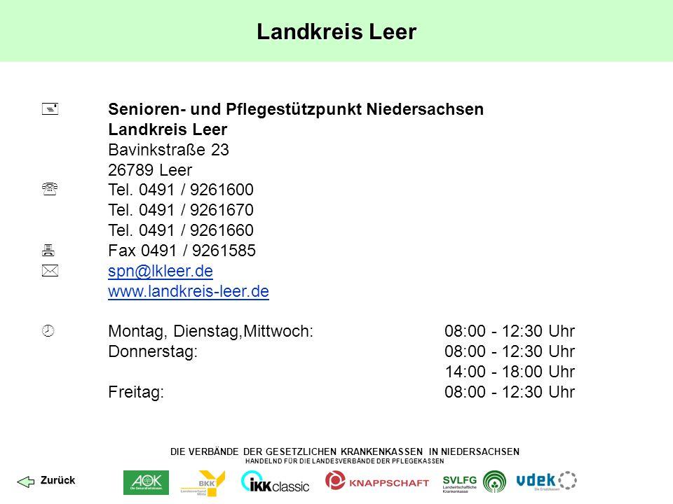 Landkreis Leer  Senioren- und Pflegestützpunkt Niedersachsen Landkreis Leer. Bavinkstraße 23. 26789 Leer.