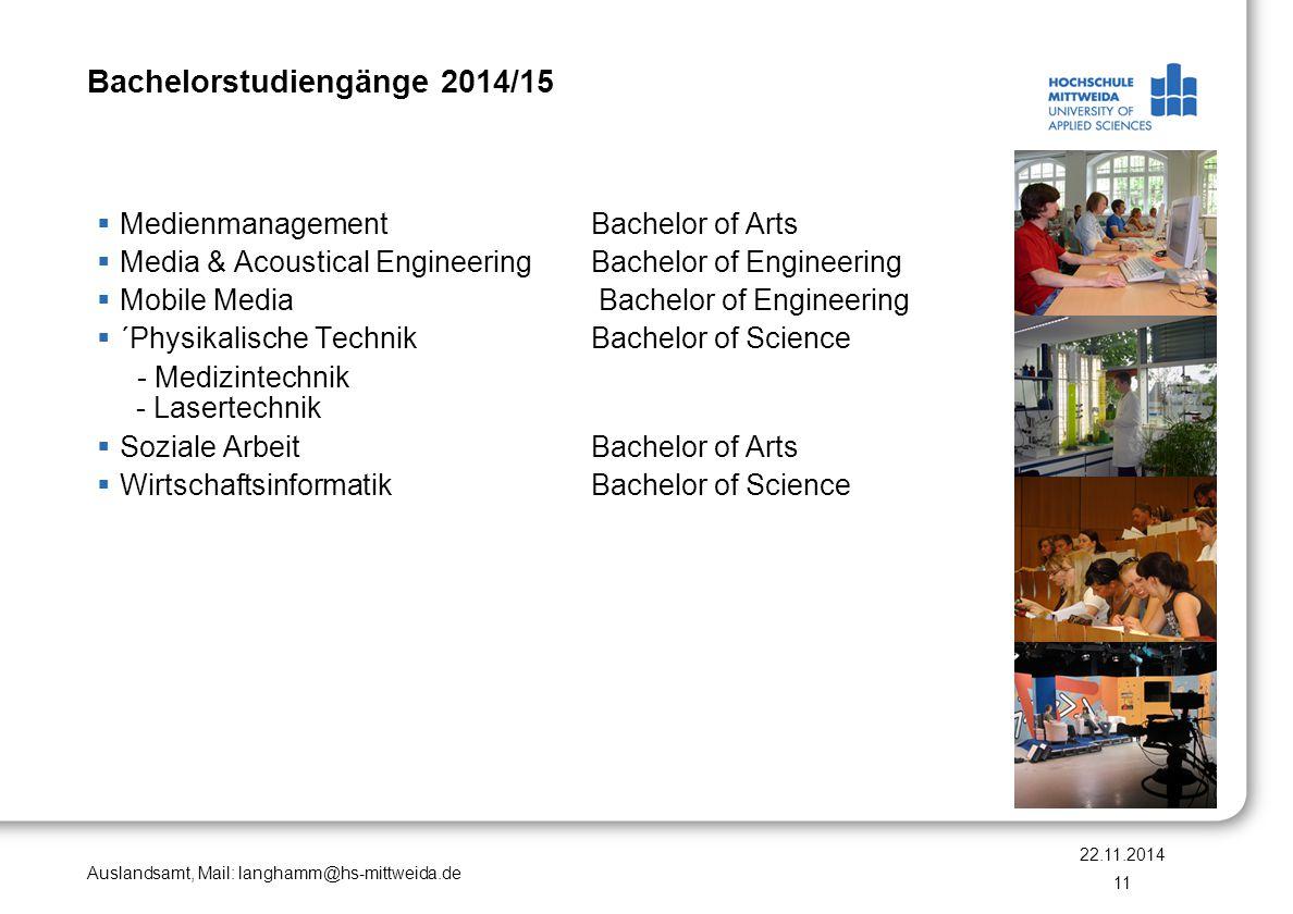 Bachelorstudiengänge 2014/15