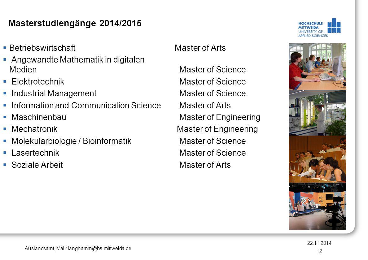 Masterstudiengänge 2014/2015 Betriebswirtschaft Master of Arts