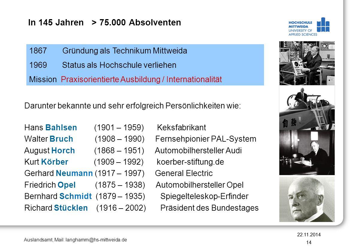 In 145 Jahren > 75.000 Absolventen