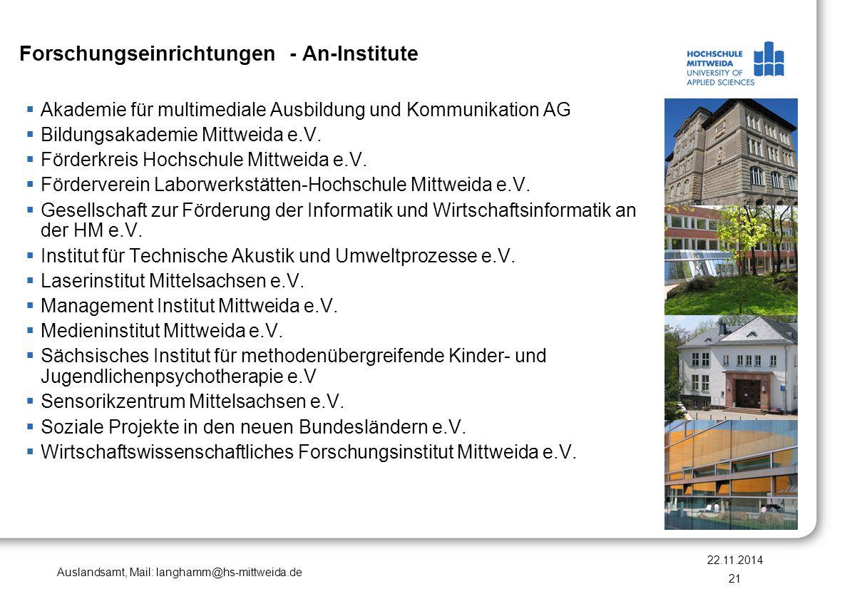 Forschungseinrichtungen - An-Institute