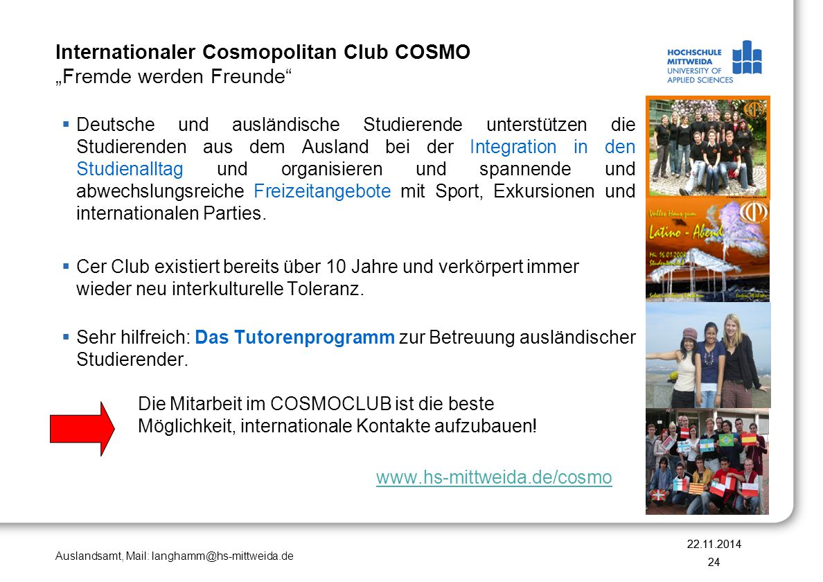 "Internationaler Cosmopolitan Club COSMO ""Fremde werden Freunde"