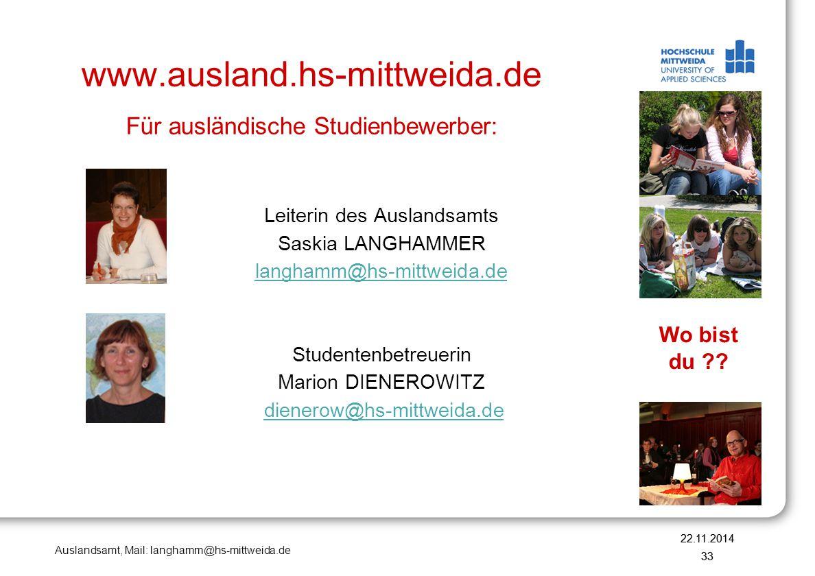 www.ausland.hs-mittweida.de Für ausländische Studienbewerber: