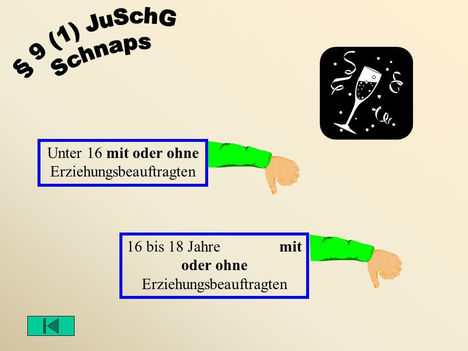 § 9 (1) JuSchG Schnaps Unter 16 mit oder ohne Erziehungsbeauftragten
