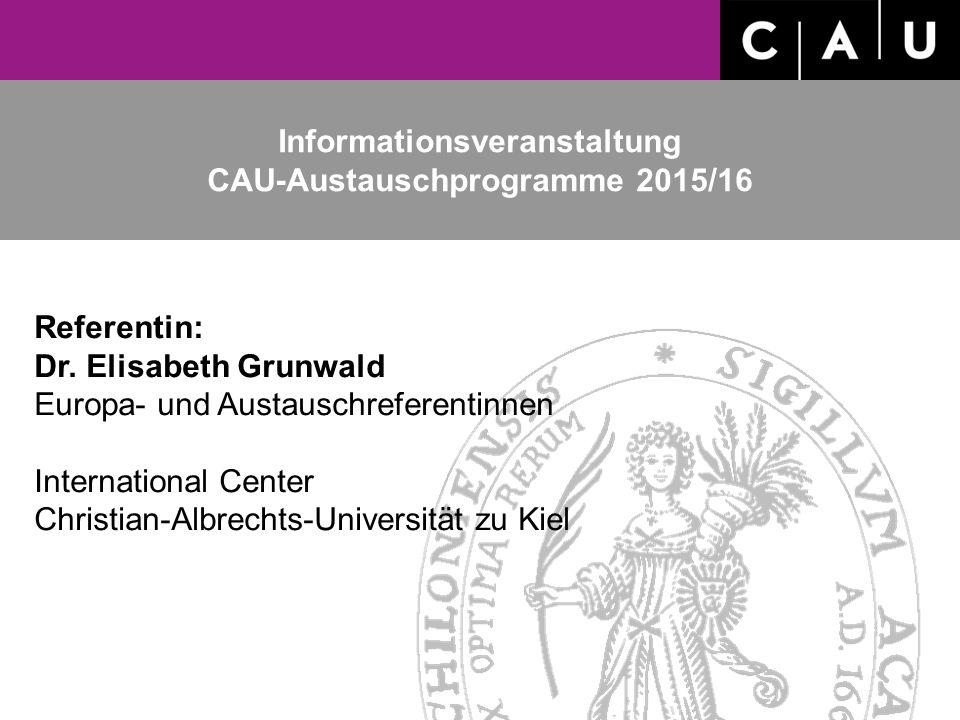 Informationsveranstaltung CAU-Austauschprogramme 2015/16