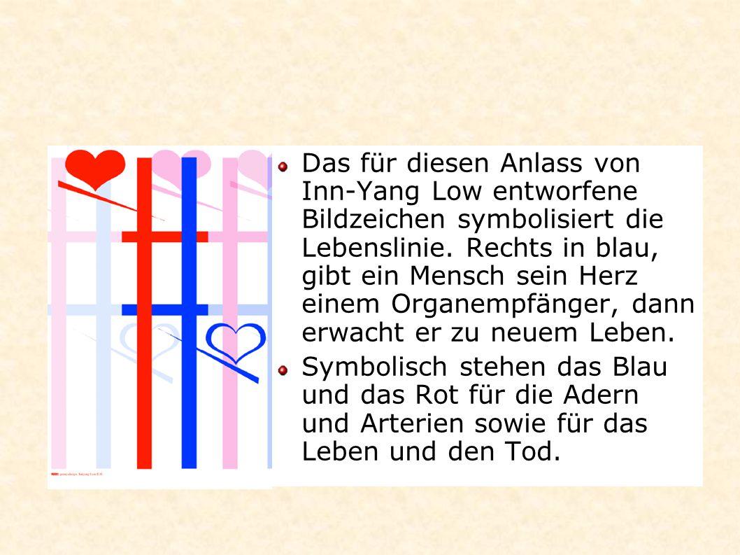 Das für diesen Anlass von Inn-Yang Low entworfene Bildzeichen symbolisiert die Lebenslinie. Rechts in blau, gibt ein Mensch sein Herz einem Organempfänger, dann erwacht er zu neuem Leben.