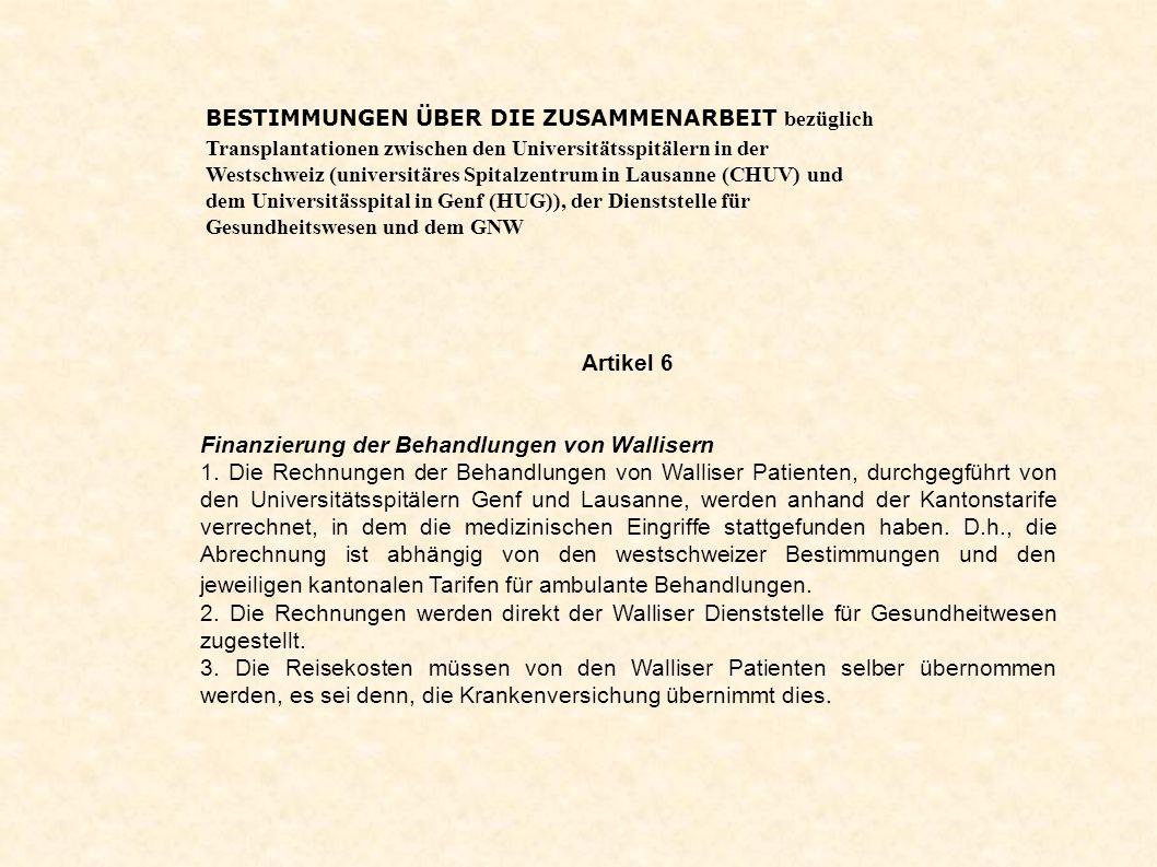 Finanzierung der Behandlungen von Wallisern