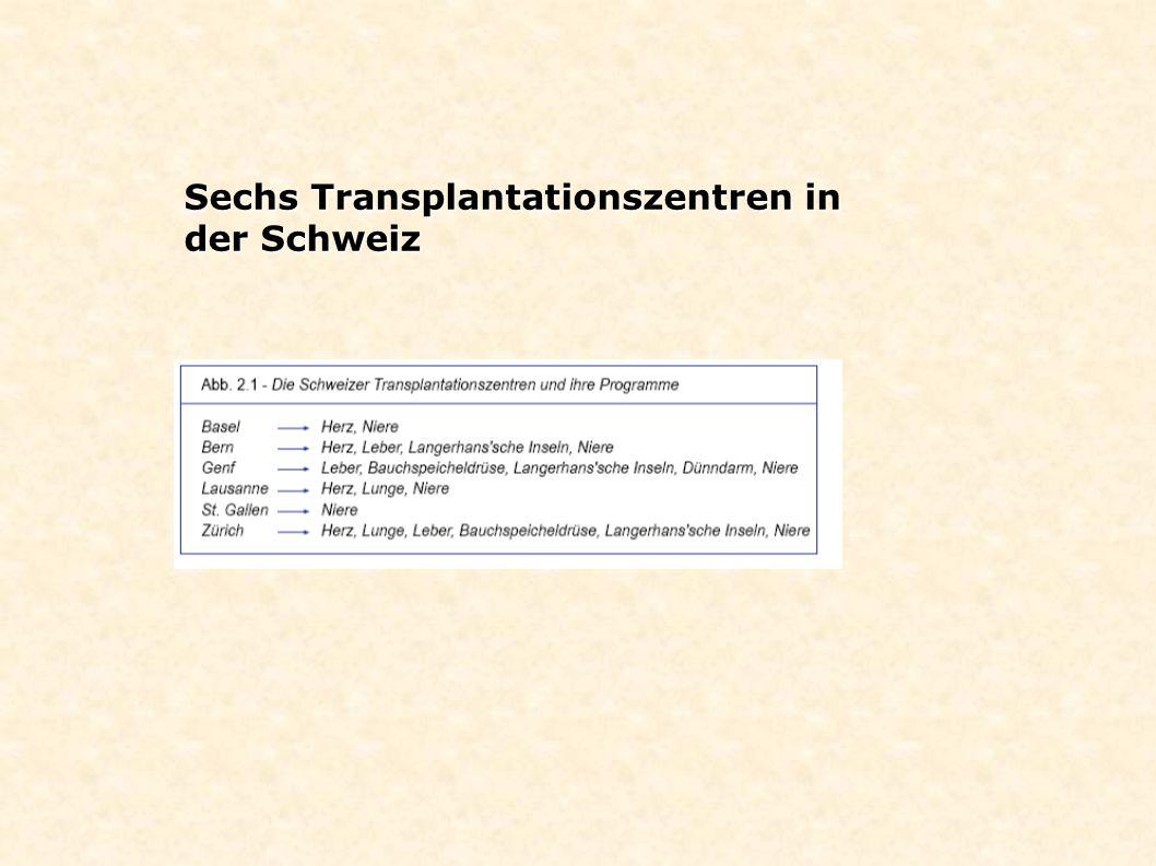 Sechs Transplantationszentren in der Schweiz