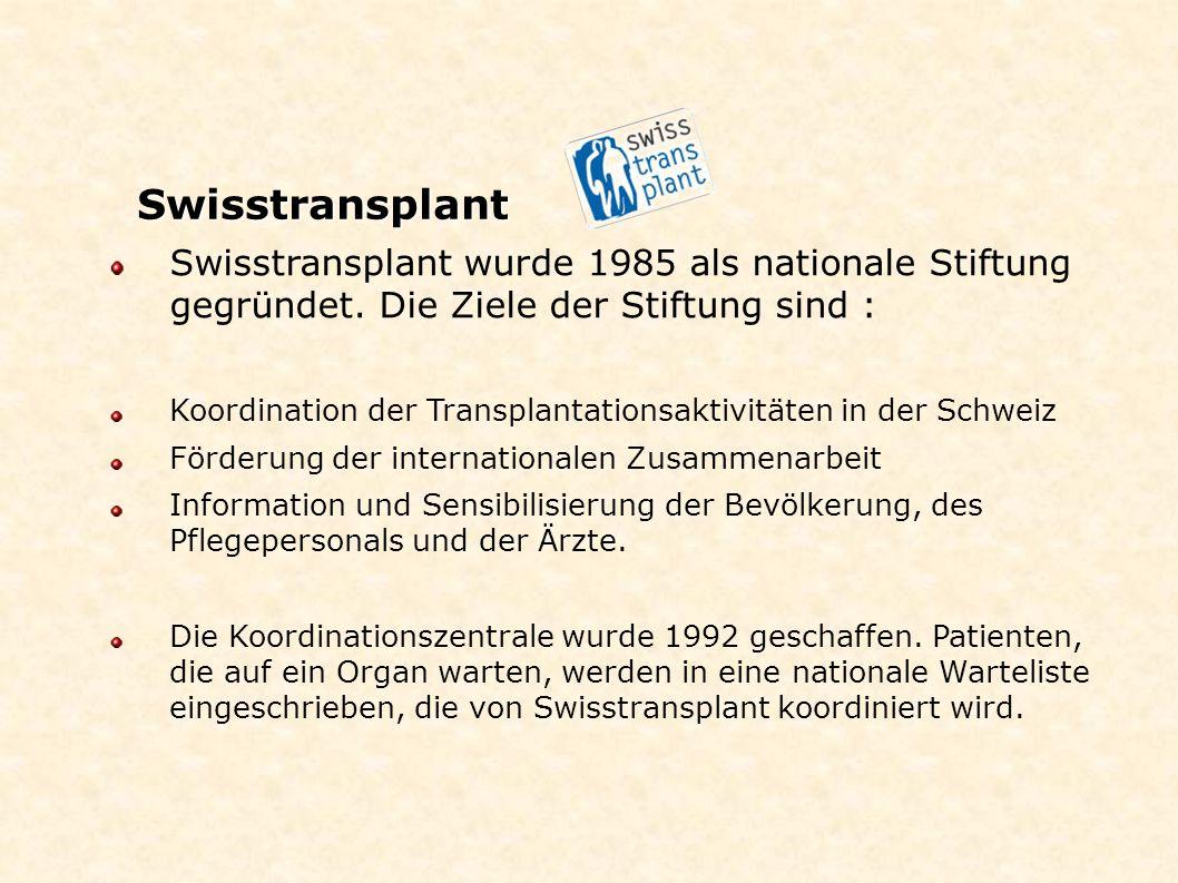 Swisstransplant Swisstransplant wurde 1985 als nationale Stiftung gegründet. Die Ziele der Stiftung sind :