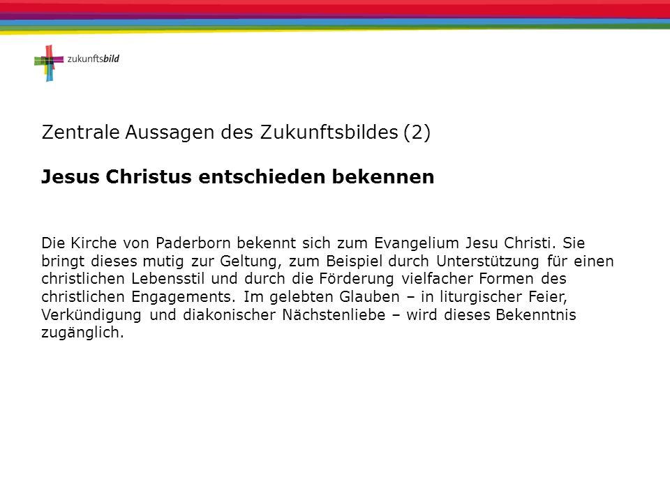 Zentrale Aussagen des Zukunftsbildes (2) Jesus Christus entschieden bekennen