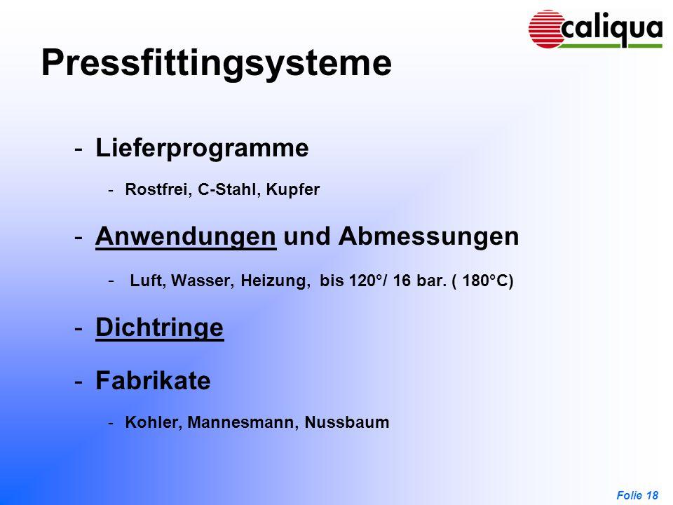 Pressfittingsysteme Lieferprogramme Anwendungen und Abmessungen