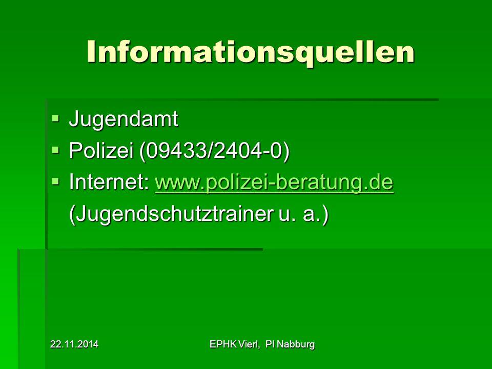 Informationsquellen Jugendamt Polizei (09433/2404-0)