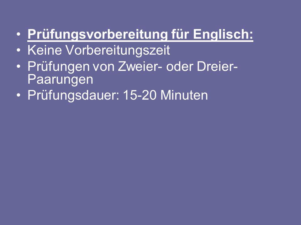 Prüfungsvorbereitung für Englisch: