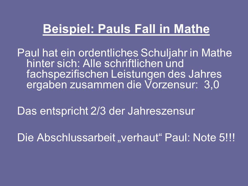Beispiel: Pauls Fall in Mathe